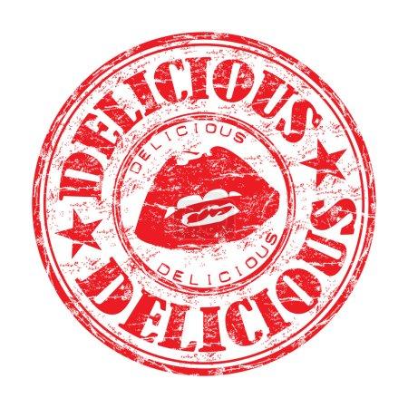 Illustration pour Timbre en caoutchouc grunge rouge avec lèvres et le texte délicieux écrit à l'intérieur du timbre - image libre de droit