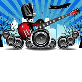 Abstract colorful background with old microphone red electric guitar loudspeakers trees building shapes and flying plane Urban concert theme