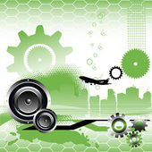 Abstract colorful illustration with gears building shapes loudspeakers stripes and a plane shape High tech concept