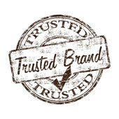 Grunge rubber stamp with the text trusted brand written inside the stamp