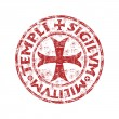 Red grunge rubber stamp with templar cross and the...