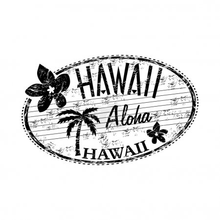 Illustration for Black grunge rubber stamp with the name of Hawaii islands written inside the stamp - Royalty Free Image