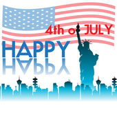 Abstract colorful background with modern building shapes The Statue of Liberty and the american flag Fourth of July theme