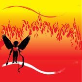 Abstract colorful illustration with black cupid silhouette standing in front of huge fire flames