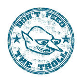 Do not feed the troll grunge rubber stamp