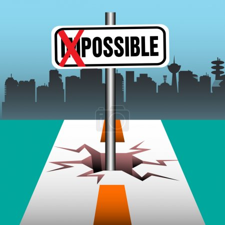 Illustration for Abstract colorful background with the word impossible written on a plate, but the two first letters crossed with red marks. Change against the odds concept - Royalty Free Image