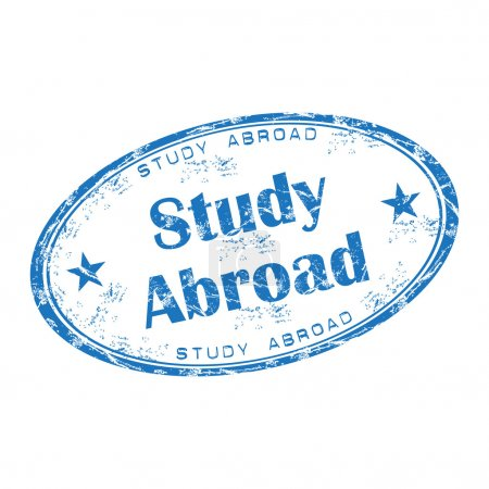 Study abroad grunge rubber stamp