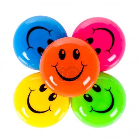 Photo pour Smileys colorés isolés sur fond blanc - image libre de droit