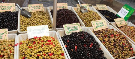 Fresh olives on the open air market