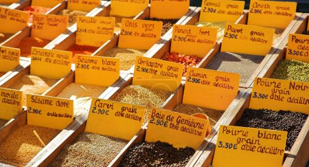 Spices sold at the market in St Raphael, France