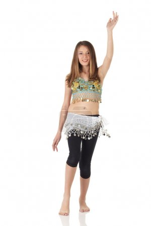 Young Caucasian belly dancing girl