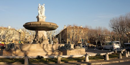 The central roundabout fountains in Aix-en-Provence, France