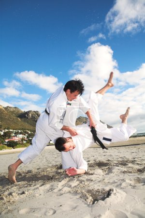 Young adult men with black belt practicing fighting