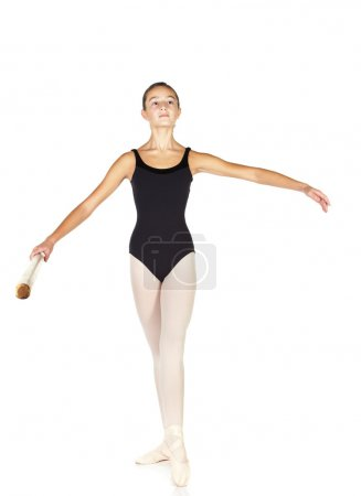 Young caucasian ballerina girl on white background...
