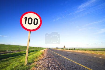 Warning sign or road sign for the maximum speed li...