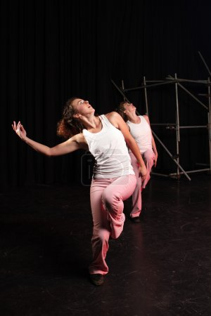 group of two Caucasian female freestyle hip-hop