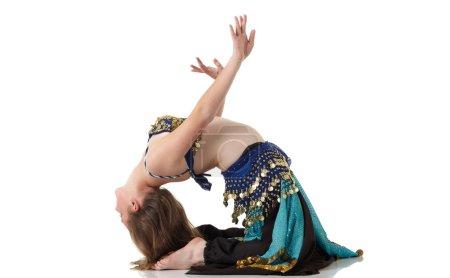 Young Caucasian belly dancing girl
