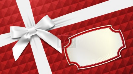 Illustration for White bow on a red textured background - Royalty Free Image