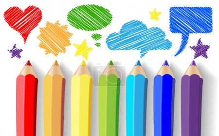 Illustration for Colored pencils and speech bubbles - Royalty Free Image