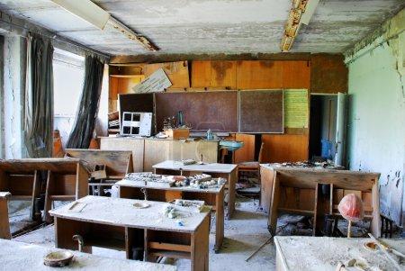 classroom in abandoned school