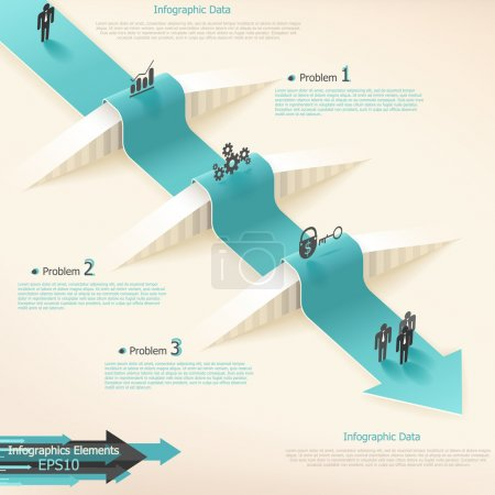 Illustration for Modern infographics options banner with realistic arrow. Vector. Can be used for web design and workflow layout - Royalty Free Image