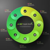 Modern infographic option round banner with green ribbons Vector Can be used for web design and workflow layout