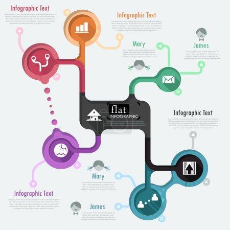 Illustration pour Conception infographique plat avec des icônes. Vector. peut être utilisé pour la conception de sites web, de mise en page de flux de travail, de médias sociaux, de divertissement et de jeux. - image libre de droit