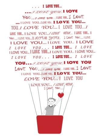 Photo pour Souriant garçon avec coeur rouge en mains battant vers hiw copine en ballon air chaud composé de mots je t'aime - image libre de droit