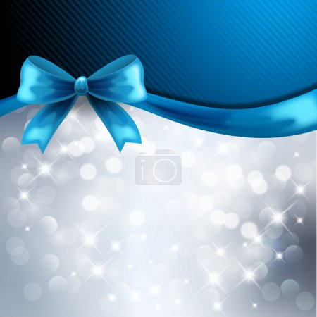 Christmas background with blue ribbon