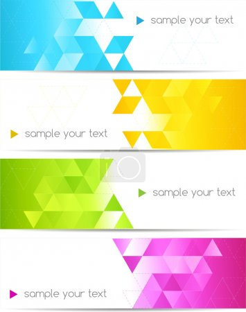 Illustration for Set of abstract banner with square shapes - Royalty Free Image