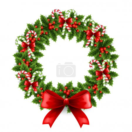 Illustration for Vector illustration Christmas wreath - Royalty Free Image