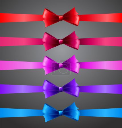 Illustration for Vector illustration Colorful ribbons with bows - Royalty Free Image