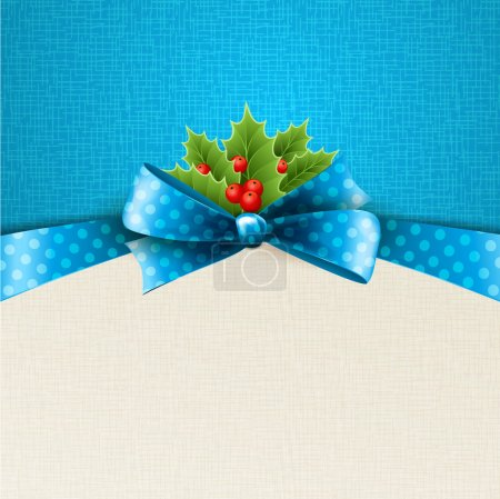 Illustration for Vector christmas background with ribbon, bow and holly - Royalty Free Image
