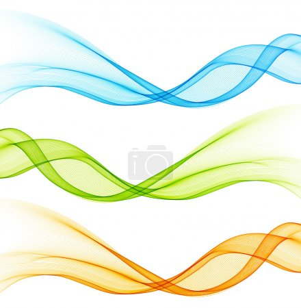 Illustration for Set of color curve lines design element. Vector illustration - Royalty Free Image