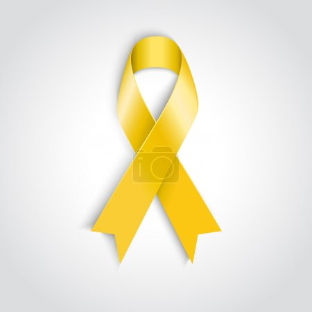 Illustration for Vector Yellow awareness ribbon on white background. Bone cancer and troops support symbol - Royalty Free Image