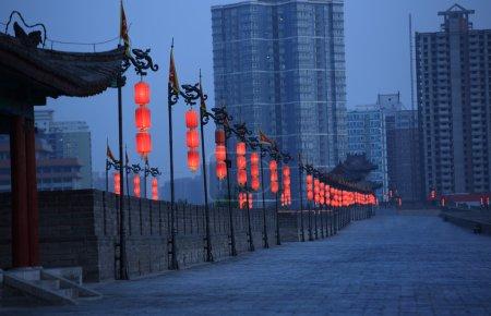 Night scene at xian city wall