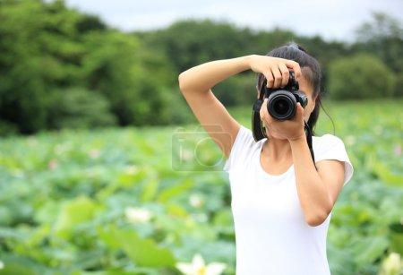 Woman taking photo of blooming lotus