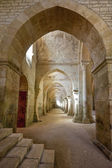 Old colonnaded interior shot in the Abbey of Fontenay in Burgundy, France