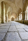 Old colonnaded closter in the Abbaye de Fontenay in Burgundy, France