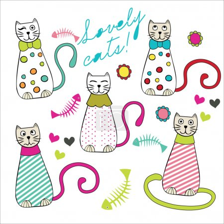 Illustration for Set of five different cats - Royalty Free Image