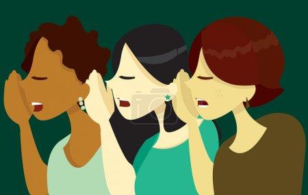 Illustration for A vector illustration of 3 women blindly giving away secrets. - Royalty Free Image