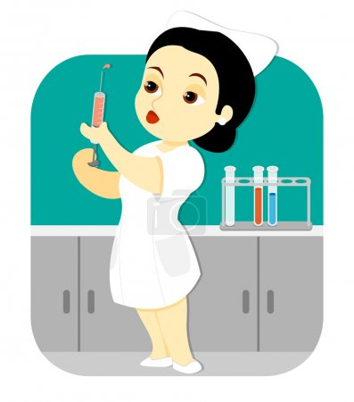 Illustration for A female nurse holding an injection syringe stands in the laboratory of a clinic or hospital. - Royalty Free Image