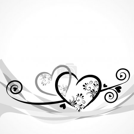 Illustration for Background with hearts and ornaments and space for text - Royalty Free Image
