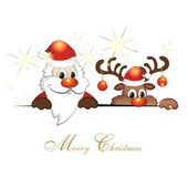 Funny reindeer and Santa Claus