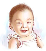 Vector Portrait of Asian Baby