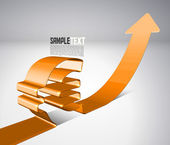 Vector 3D Arrow Moving Upward with Euro Sign