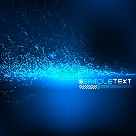 Illustration pour Lignes vectorielles bleues Art brillant dans l'obscurité - image libre de droit