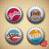 Vector Retro Bottle Caps with Call-to-Action