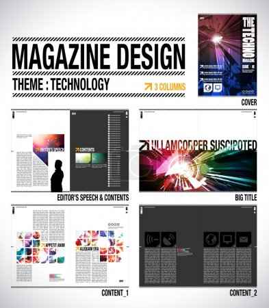 Illustration for Magazine Layout Design Template with Cover. 8 pages (4 spreads) of Contents Preview. - Royalty Free Image