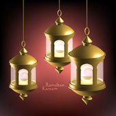 Vector 3D Muslim Oil Lamp Translation: Ramadan Kareem - May Generosity Bless You During The Holy Month